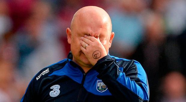 Waterford manager Derek McGrath dejected after the GAA Hurling All-Ireland Senior Championship Final match between Galway and Waterford at Croke Park in Dublin. Photo by Piaras Ó Mídheach/Sportsfile