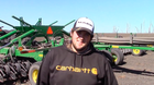 Andrew O'Reagan on the 40,000 acre tillage farm in North Dakota.