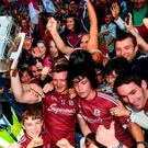Joe Canning of Galway celebrates with supporters following the GAA Hurling All-Ireland Senior Championship Final match between Galway and Waterford at Croke Park in Dublin. Photo by Stephen McCarthy/Sportsfile