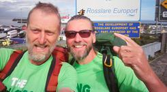 Eamonn Donnelly is pictured (glasses) With Sepp Tieber- Kessler in Rosslare on their arrival