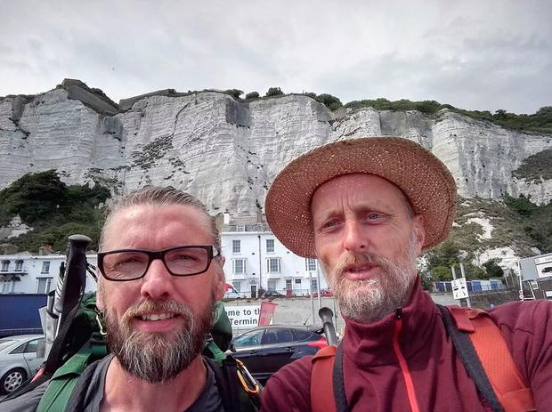 The pair at the White Cliffs of Dover in the UK