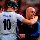 Kevin Moran of Waterford and his manager Derek McGrath dejected after the GAA Hurling All-Ireland Senior Championship Final match between Galway and Waterford at Croke Park in Dublin. Photo by Piaras Ó Mídheach/Sportsfile
