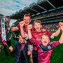 Joe Canning of Galway and his nephews celebrate following the GAA Hurling All-Ireland Senior Championship Final match between Galway and Waterford at Croke Park in Dublin. Photo by Stephen McCarthy/Sportsfile