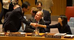 Republic of Korea Ambassador to the United Nations Cho Tae-yul (L) greets U.S. Ambassador to the UN Nikki Haley (R) and British ambassador to the UN Matthew Rycroft (C) after a meeting of the United Nations Security Council on North Korea at the U.N. headquarters in New York City, U.S., September 4, 2017. REUTERS/Joe Penney