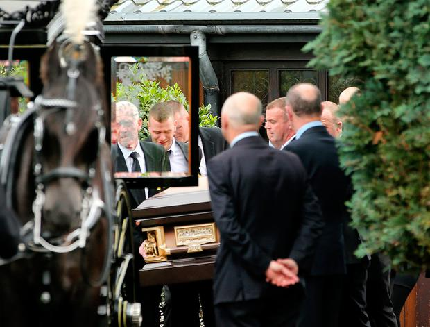 The remains of Danielle Carroll are taken from the Church of the Incarnation in Fettercairn following her funeral mass. Picture; Gerry Mooney