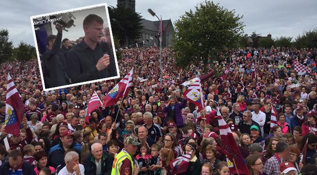 Crowds in Ballinasloe and (inset) Paul Flaherty takes the mic