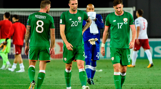 Ireland players from left, Daryl Murphy, Shane Duffy, Darren Randolph and Stephen Ward after draw with Georgia