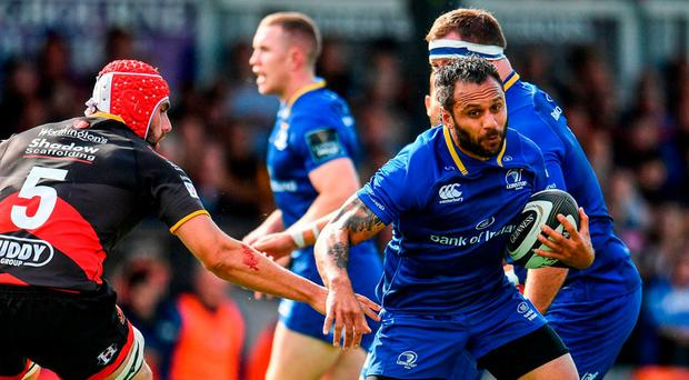 Isa Nacewa, here sidestepping Cory Hill of Dragons, could be a big addition in the centre for Leinster. Photo: Ramsey Cardy/Sportsfile