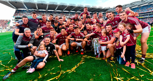 The Galway players enjoy their moment in Croke Park after winning the Liam MacCarthy Cup. Photo: Sportsfile