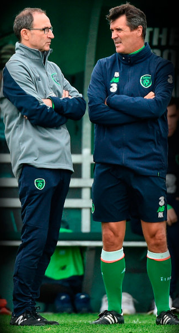 (l-r) Ireland boss Martin O'Neill and assistant Roy Keane pictured in training yesterday. Photo: Sportsfile