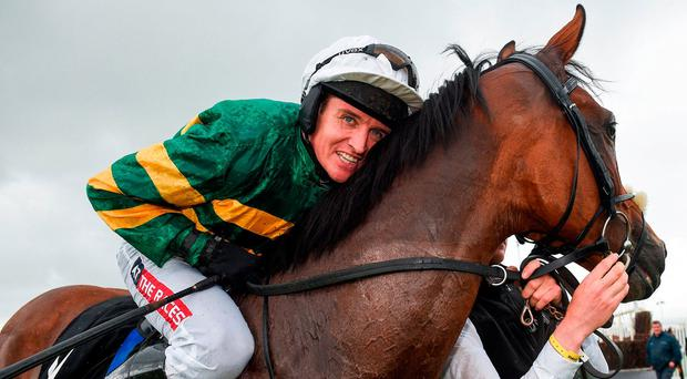 Joseph O'Brien's charge claimed his third successive victory in a thrilling renewal of the Ballybrit feature a month ago under Barry Geraghty, his fifth victory over hurdles. Photo: Cody Glenn/Sportsfile