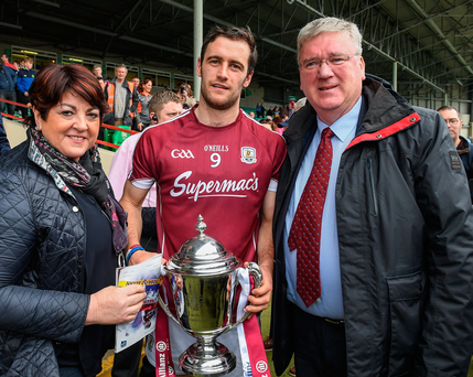 Pat McDonagh and wife Una with Galway captain David Burke after the Tribesmen won the league title against Tipperary in April. Photo: Sportsfile