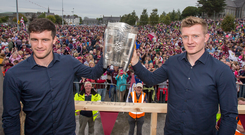 Galway Captain David Burke and Joe Canning at a home coming in Ballinasloe Picture: Mark Condren