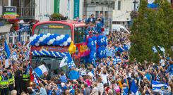 There was a big turnout in Waterford city to welcome home their team. Photo: Patrick Browne