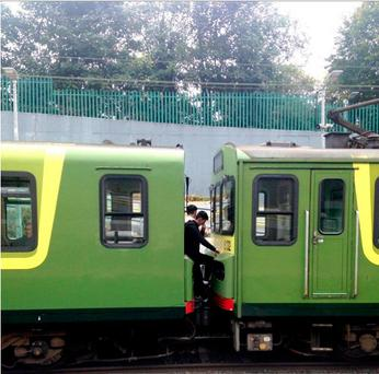 The boys were squeezed between two carriages as the train pulled into Killester station