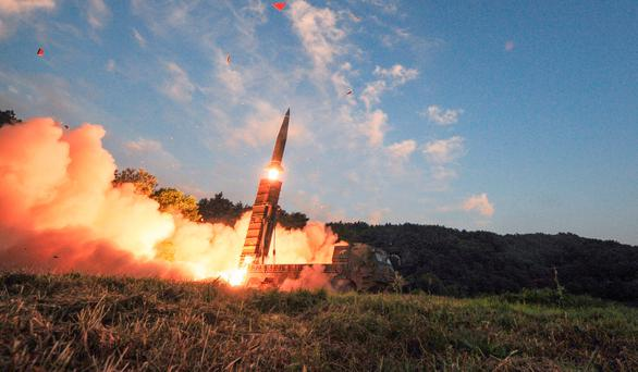 South Korea's Hyunmoo II ballistic missile is fired during an exercise at an undisclosed location in South Korea, Monday, Sept. 4, 2017. (South Korea Defense Ministry via AP)