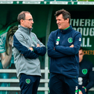 Ireland Martin O'Neill with assistant manager Roy Keane during squad training