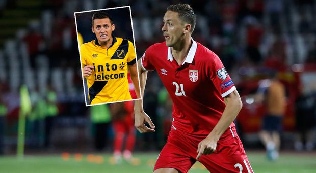 Nemanja Matic of Serbia and (inset) brother Uros
