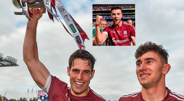 Galway's Gearóid McInerney, left, and Jason Flynn and (inset) Adrian Tuohy