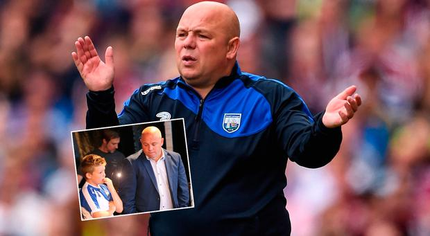 Derek McGrath on Sunday and (inset) with his son Finn at the homecoming