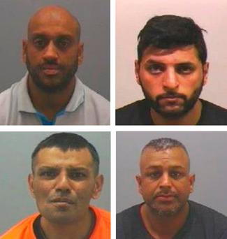 Members of a grooming gang who sexually abused vulnerable girls (top row left to right) Nadeem Aslam, Mohammed Azram, (bottom row left to right) Abdul Sabe and Jahangir Zaman
