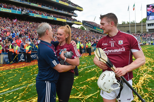 Galway manager Micheál Donoghue with Shannon Keady, daughter of Tony, after the GAA Hurling All-Ireland Senior Championship Final match between Galway and Waterford at Croke Park in Dublin. Photo by Ramsey Cardy/Sportsfile