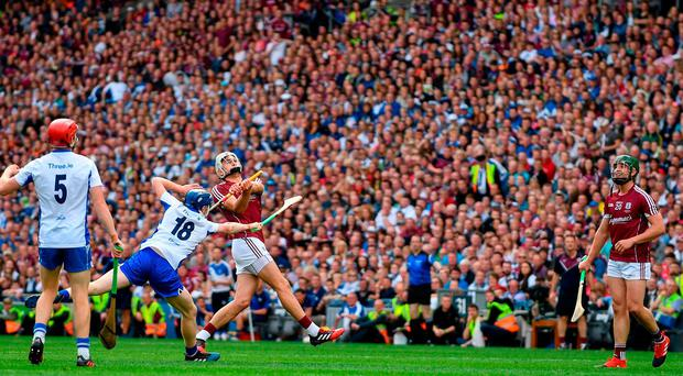 Since scoring two goals against Dublin at the start of their All-Ireland campaign, Galway have gone four hours and 57 minutes without a three-pointer. Photo: Sam Barnes/Sportsfile