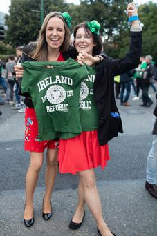 Janice Carlin, from Dublin, and Ciara Kennedy, from Derry, show their support at the match. Photo: Arthur Carron