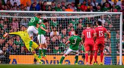 Ireland centre-half Shane Duffy finds the net in the first half only for the goal to be ruled offside. Photo: BRENDAN MORAN/SPORTSFILE