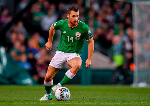 Wes Hoolahan in action during the Republic's qualifier against Serbia at the Aviva last night. Photo: Brendan Moran/Sportsfile