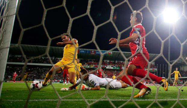 Hal Robson-Kanu taps the ball in at the back post. Photo: REUTERS
