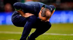 Republic of Ireland manager Martin O'Neill reacts at the final whistle. Photo: Brendan Moran/Sportsfile