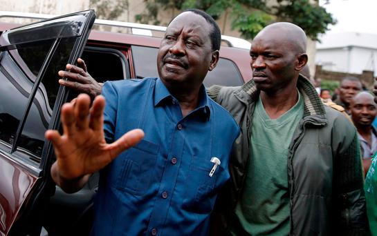 Kenyan opposition leader Raila Odinga, left, said the presidential election last month was rigged Photo: Reuters