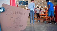 Costco ran out of water as people shop to prepare for Hurricane Irma on September 5, 2017 in North Miami.