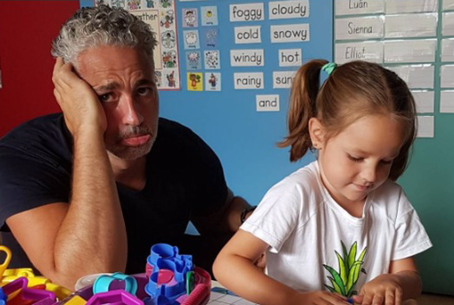 Baz Ashmawy and his daughter on their first day of school.
