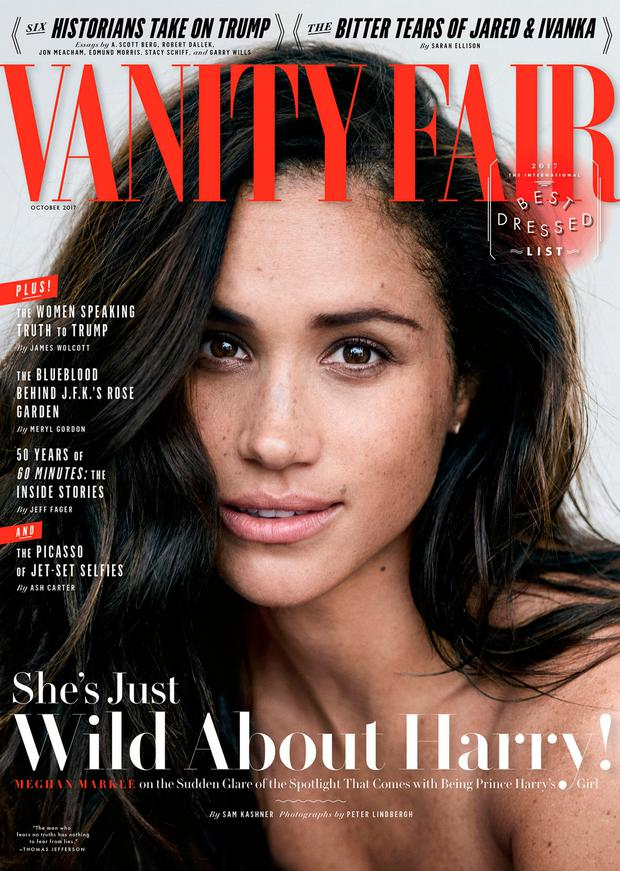 The October 2017 cover of Vanity Fair featuring actress Meghan Markle is seen in this handout photo obtained September 5, 2017. Peter Lindbergh exclusively for Vanity Fair/Handout via REUTERS