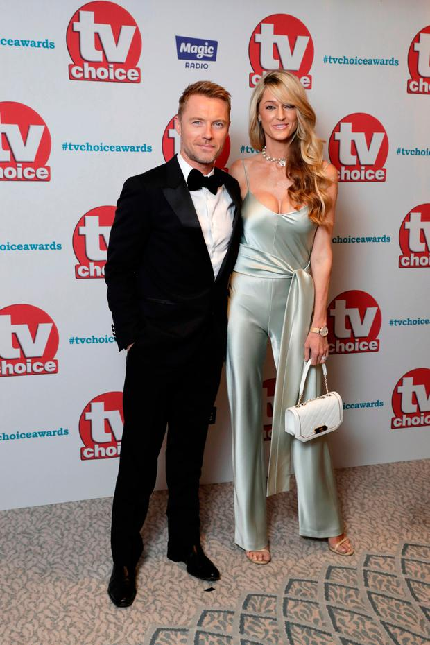 Magic Radio presenter Ronan Keating and wife Storm arrive for the TV Choice Awards at The Dorchester on September 4, 2017 in London, England. (Photo by John Phillips/Getty Images)