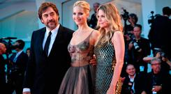Spanish actor Javier Bardem, US actress Jennifer Lawrence (C) and US actress Michelle Pfeiffer attend the premiere of the movie