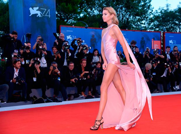 Model Stella Maxwell attends the premiere of the movie