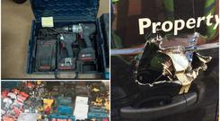 Tools seized by gardai in the last five months (left) and a van which was damaged by thieves (right) Photos: An Garda Siochana and Locktec Locksmiths