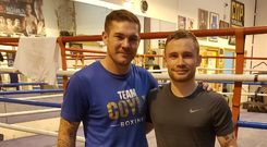 Carl Frampton with new trainer Jamie Moore. Credit - @RealCFrampton Twitter