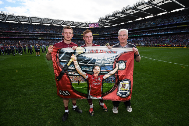 Joe Canning, Conor Whelan and Galway kit manager James 'Tex' Callaghan following the GAA Hurling All-Ireland Senior Championship Final match between Galway and Waterford at Croke Park in Dublin. Photo by Stephen McCarthy/Sportsfile