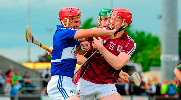 Laois' John A Delaney goes toe-to-toe with Galway's Joe Canning during the 2014 Leinster SHC quarterfinal when Cheddar Plunkett's men were unlucky not to beat the Tribesmen. Photo: Sportsfile