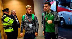 Seamus Coleman arrives at the Aviva Stadium on Tuesday night, however, his presence has been missed on the field. Photo: DAVID MAHER/SPORTSFILE