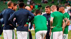 Ireland assistant manager Roy Keane speaks with the players before their Group D clash against Serbia. Photo: DAVID MAHER/SPORTSFILE