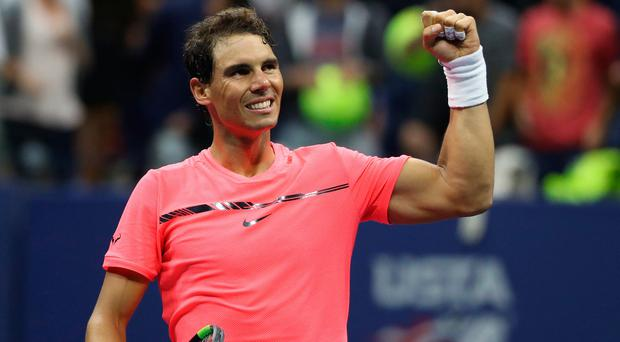 Rafael Nadal celebrates after his match against Andrey Rublev. Photo: Geoff Burke - USA Today Sports