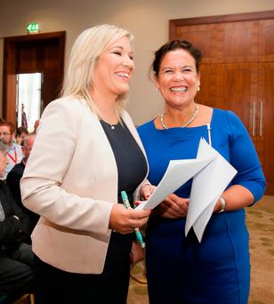 Sinn Féin leader in Northern Ireland Michelle O'Neill and the party's deputy leader, Mary Lou McDonald, during SF's pre-Dáil return away day meeting in the CityNorth Hotel, Dublin. Picture: Collins