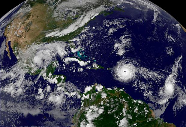 Hurricane Irma churns across the Atlantic Ocean in this NASA satellite image. Photo: REUTERS