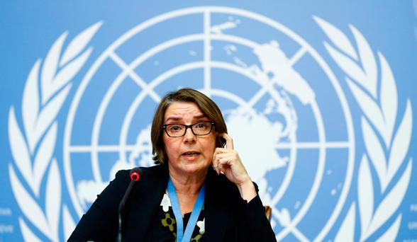 Catherine Marchi-Uhel of France, newly-appointed head of the International, Impartial and Independent Mechanism (IIIM) attends a news conference on Syria crimes at the United Nations in Geneva, Switzerland. Photo: REUTERS/Denis Balibouse