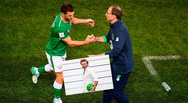 Wes Hoolahan and Martin O'Neill and (inset) Robbie Savage who was appearing to promote the BT Sport line-up on the eir Sport Pack,